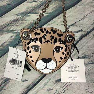 NWT Kate Spade leopard coin purse run wild black